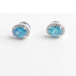 Henri Bendel LUXE Oval Pave Stud Earrings in Blue